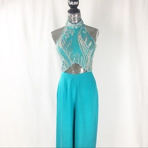Turquoise Beaded Jumpsuit w Halter Neck